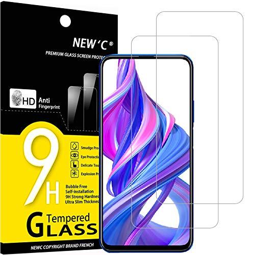 NEW'C 2 Stück, Schutzfolie Panzerglas für Honor 9X, Honor 9X Pro, Frei von Kratzern, 9H Festigkeit, HD Bildschirmschutzfolie, 0.33mm Ultra-klar, Ultrawiderstandsfähig