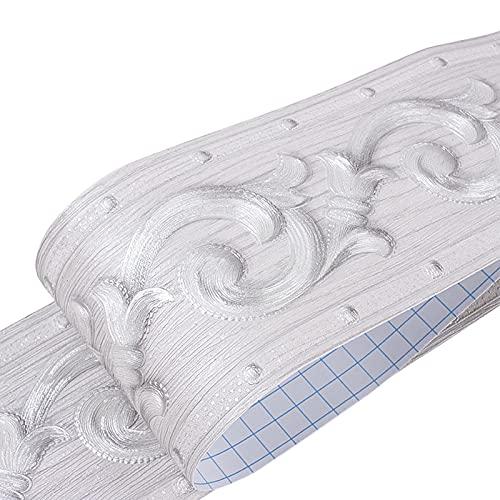 Tapete Bordüre Wasserdichter Rand Aufkleber Selbstklebende Vintage 3D Blumenrebe Muster Dekoration für Wohnzimmer Bad und Küche