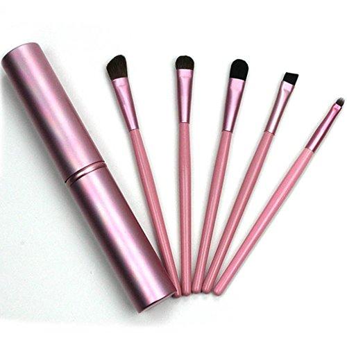 5pcs maquillage professionnel pinceau à paupières pour les yeux pinceaux ensemble cosmétique + tube rond