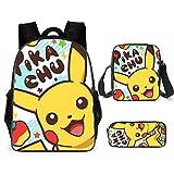 Cartoon Poke-Mon Pikachu Lightweight School Bag Backpack For Kids Boys Girls 3 Piece Value Set