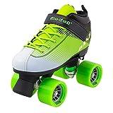 Riedell Skates - Dash - Indoor Quad Roller Skate for Kids | Green & White | Size 2 |