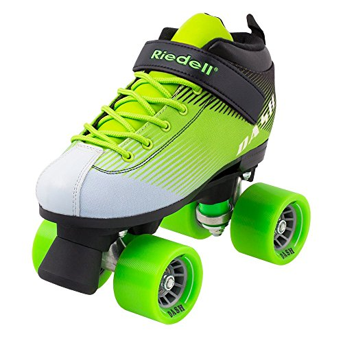 Riedell Skates - Dash - Indoor Quad Roller Skate for Kids | Green & White | Size 3 |