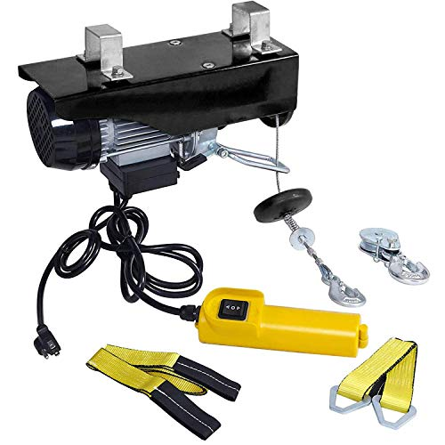 OPENROAD 110V Lift Engine Hoist Electric Hoist,440lbs Ceiling Hoist with Remote Control,Garage Lift Hoist with Steel Cable and Yellow Strap