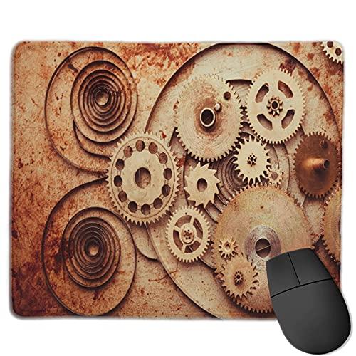 Benutzerdefinierte Office-Mauspad,Steampunk Hintergrund von mechanischen Uhren, Anti-Rutsch-Gummibasis Gaming Mouse Pad Mat Desk Decor 9.5 'x 7.9'