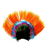 Easyinsmile Rainbow Mohawk Wig Hallowmas Masquerade Punk Mohican Hairstyle Cockscomb Hair Cosplay Wig (orange)