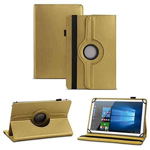 NAUC Blaupunkt Polaris A08.G301 Tablet Schutzhülle Tasche Cover Hülle Carbon-Erscheinungsbild 360°, Farben:Gold