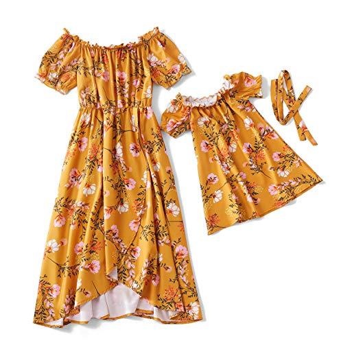 Yaffi Mutter und Tochter passenden Maxi-Kleid mit Blumenmuster Puff Kurzarm Sommer schulterfrei langes Kleid Mädchen: 6-7 Jahre