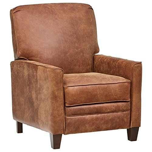 Amazon Brand – Stone & Beam Edmunds Traditional Leather Recliner, 30'W, Saddle Brown