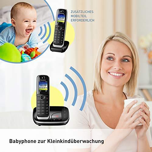 Panasonic KX-TGJ320GB Familien-Telefon mit Anrufbeantworter (schnurloses Telefon, strahlungsarm, Anrufschutz, DECT Basisstation, Freisprechen) schwarz