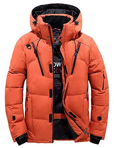 Herren Daunenjacke Winterjacke Steppjacke Übergangsjacke Outdoor Jacke Abnehmbarer Kapuze (Small, Orange)