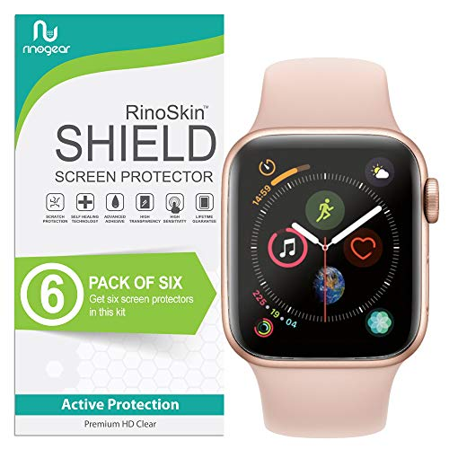 (6-Pack) Apple Watch 40mm Screen Protector (Series 6 5 4 SE) RinoGear Case Friendly iWatch Screen Protector for Apple Watch Series 6, 5, 4, SE 40mm Accessory Full Coverage Clear Film