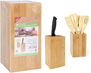 2 en 1 Tacoma Bambou Porte-ustensiles Bloc pour couteaux Support pour ustensiles Boîte en bambou