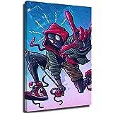 Megiri Wall Art Superhéroe, Spider Man Miles, pintura abstracta para la oficina, decoración de pared para el hogar o la oficina, lona, Enmarcado, 24'x36'