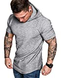 COOFANDY Men's Workout Hoodies Gym Bodybuilding Muscle Short Sleeve Shirt