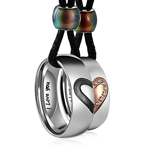 Aeici Couple Necklace Stainless Steel Heart Pendant for Him and Her Black Rope Rose Gold Cubic Zirconia Matching Set Rings