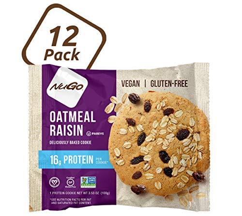 NuGo Protein Cookie, Oatmeal Raisin, 16g Vegan Protein, Gluten Free, Soy Free, 12 Count, 100 Gram
