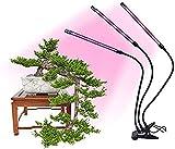 SZTC Lampe de croissance à 3 têtes - 30 W - 60 LED - 3/9/12 h - 3 modes - 9 niveaux de luminosité réglables - Spectre complet - Lampe de croissance col de cygne pour semis d'intérieur