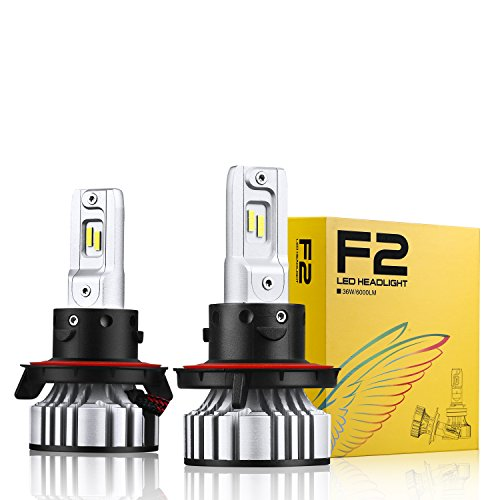 Alla Lighting D-CR F2 Newest Version 9000 Lumens Extremely Super Bright 3200K Gold Yellow High Power SUPER Mini H13 9008 Dual High Low Beam LED Bulb All-in-One Bulbs