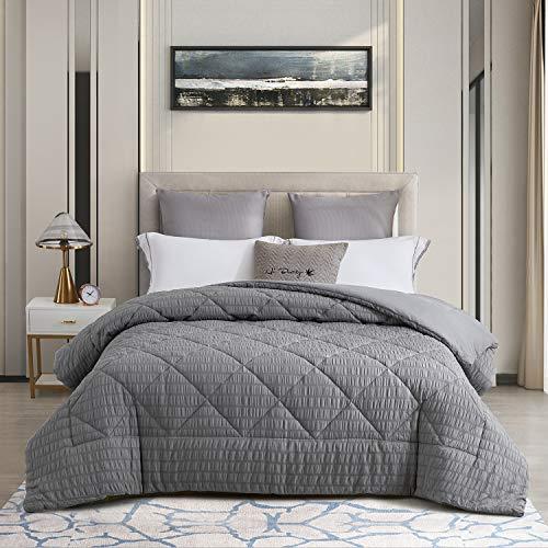 CHIXIN Seersucker Duvet - Soft Down Alternative Bedding Comforter (Queen, Dark Grey)