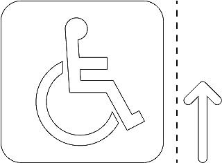車椅子・障害者案内マーク(矢印付き)のカッティングステッカー・シール 光沢タイプ・防水・耐水・屋外耐候3~4年【クリックポストにて発送】 (白, 75)