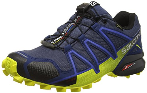 Salomon Herren Speedcross 4 GTX Trailrunning-Schuhe,Blau (Slateblue/Blue Depth/Corona Yellow), 41 1/3 EU