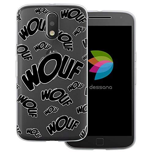 dessana Comic Zeichen transparente Schutzhülle Handy Case Cover Tasche für Motorola Moto G4 Plus Wouf