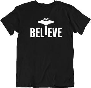 Men's Funny Humor Believe UFO Alien T Shirt