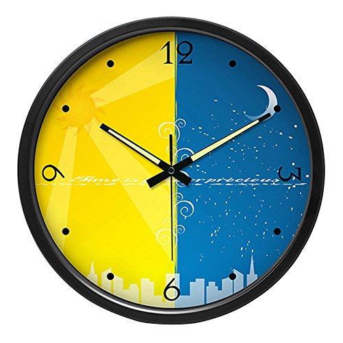 Grote Mode Stilte Wandklok RVS Noctilucentie Pointer Grote Horloges Home Decor Uniek geschenk, 35cm, Zwart