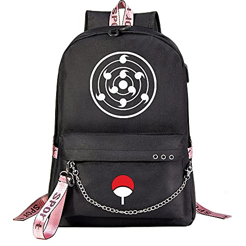 ZZGOO-LL Naruto/Sharingan/Uchiha Sasuke with Chain USB Mochila Backpack Casual Impermeable Viaje de Negocios con Unisex Black-D