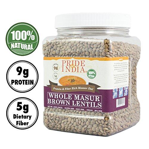Pride of India - und Reis. Korngläser (Whole Brown Masur purpurne Linsen (Masoor Whole), 1,5 lb Jar)
