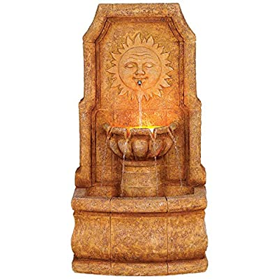 """Lamps Plus Sun Villa Outdoor Wall Water Fountain with Light LED 37"""" High 2 Tiered for Yard Garden Patio Deck Home - John Timberland"""
