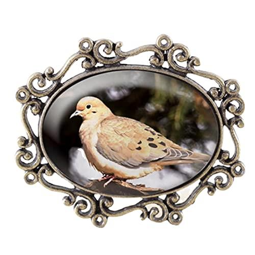 Broche de paloma de luto – Broach de bronce de la joyería del pájaro de la tortuga, joyería de la