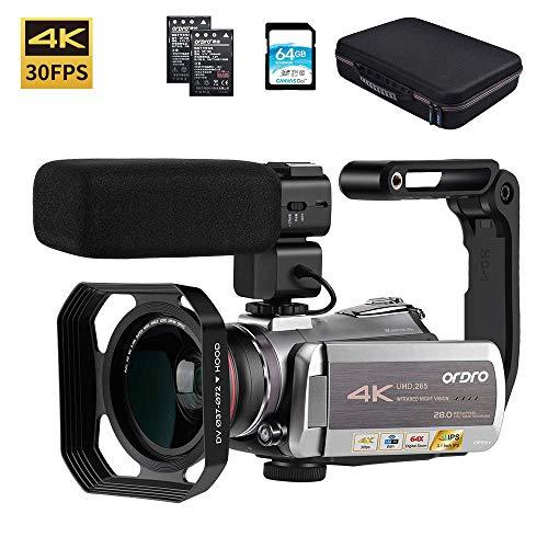 Video Camera 4K Camcorder ORDRO Real 4K Ultra HD 30FPS Digital Video Camera WiFi Recorder IR Night...