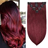 S-noilite 22Inch Clip in Hair Extensions Double Weft Burgundy 100% Remy Human Hair Wine Red Long Thick Silky Straight Full Head 8pcs 18 Clips Clip on Brazilian Hair For Women 160g #99J
