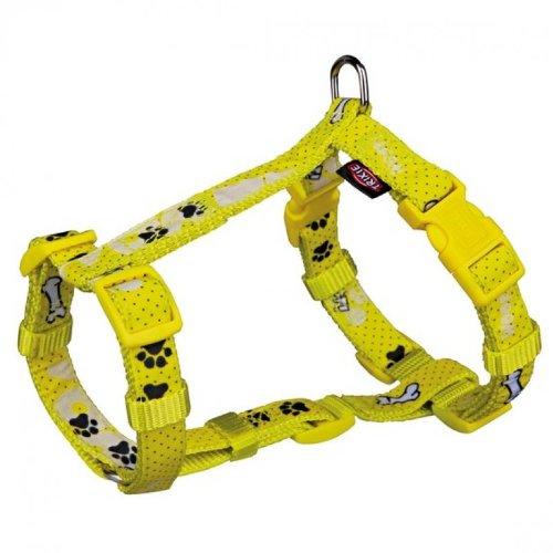 H-Geschirr für Hunde Modern Art Woof, XS-S: Brust: 30-40 cm/15 mm, gelb