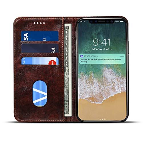 JCGOODiphoneXsMaxケース手帳型アイフォンXsMaxケース本革財布型カード収納スタンド機能レザーマグネット式スマホケース手帳携帯カバー軽量薄型耐衝撃保護(iphoneXsMax,ブラウン)