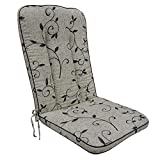 OUTLIV. Hochlehnerauflage, Polsterauflage Romeo Elegance, Stapelsessel-Auflage Sitz- Rückenkissen Beige Schwarz Ranke Sitzauflage für Gartensessel und Gartenstuhl