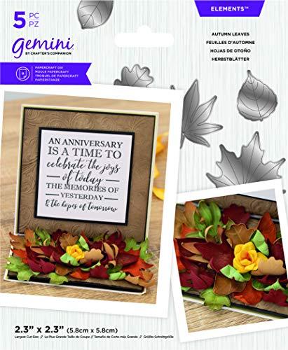Crafters Companion GEM-MD-ELE-AULE Gemini Elements Stanzschablonen-Set für Winterblumen, Herbstblätter, silber, Einheitsgröße