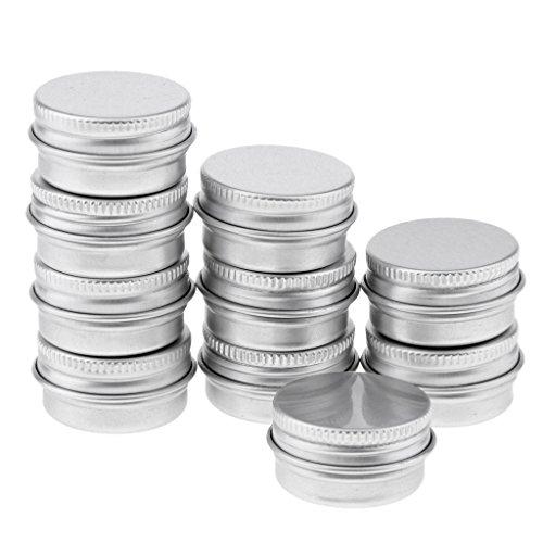 SM SunniMix Boîte Baume à Lèvres Vide Pot de Crème Cosmétique Récipient de Cosmétique avec Couvercle - argent, 5ml 10pcs