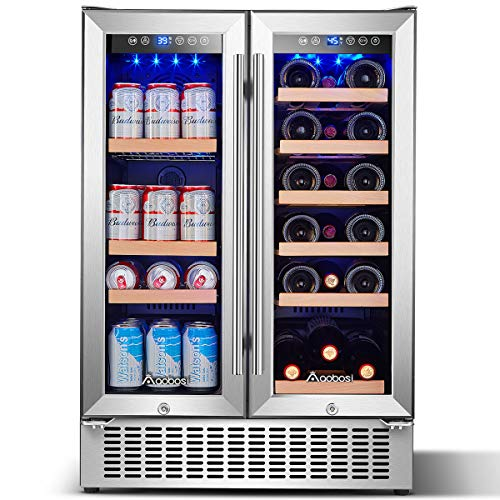 Aobosi 24 Inch Beverage and Wine Cooler Dual Zone, 2-IN-1 Wine Beverage...
