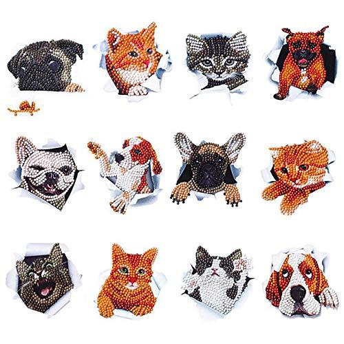 RosewineC 12pcs 5D Diamond Painting Aufkleber für Kinder DIY Art Craft Tier Katze Hund Malerei mit Diamanten Farbe für Kinder Erwachsene Anfänger