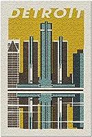 デトロイトミシガン-ウッドブロック56787(米国製15x38大人用プレミアム500ピースジグソーパズル!)