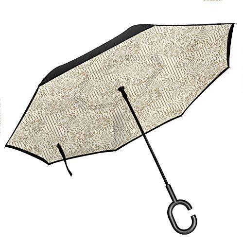 YOFUHOME Floral Reverse Umbrella Retro Toned Design Wildflowers Carnations Flourishing Nature Lines Wedding Inspired for Car/Rain/Sun Windproof UV Protection Umbrella, Cream Tan 42.5'x31.5'Inch