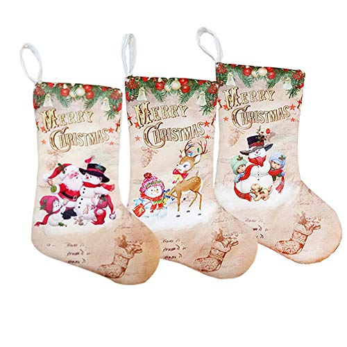 Todaytop Nikolausstiefel 3er Set mit weihnachtlicher Stickerei - Weihnachtsstrumpf zum Befüllen und Aufhängen - Nikolaus Strumpf Schneemann Rentier Geschenktasche Candy Bag Weihnachtsdeko