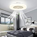 IYUNXI Ceiling Fan with Light.Infinite Dimming Chandelier.Enclosed Low Profile Fan Low-Noise with Invisible Blades.Remote Control LED 3 Color Temperature. Usually Used in Restaurants and Bedrooms.