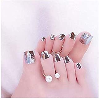 VIKSON INTERNATIONAL 1 Set 12 pcs Mirror Shine Chrome SILVER Artificial False Toe Nails Tips for Nail Art Decorations Foot Manicure Beauty Tools Mirror Silver Fake Nails for toe