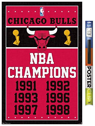 Trends International Poster Clip NBA Chicago Bulls - Champions, 22.375' x 34', Poster & Clip Bundle