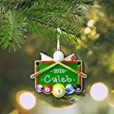 Cherrytees Billiards Personalized Ornament - Pool Hall - Cue - 8 Ball - League Champion Trophy - Hand Personalized Christmas Ornament