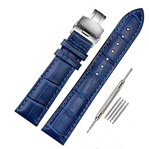 FOUUA Cinturini per orologi 17mm 18mm 19mm 20mm 21mm 22mm 24mm Cinturini per orologi in vera pelle Cinturino in alligatore con sostituzione in rilievo con chiusura deployante Argento Oro