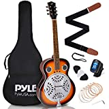 Pyle, Resophonic Acoustic Electric Guitar-6 Round Neck Sunburst Mahogany Traditional Resonator w/Built-in Pre Amplifier, Case Bag, Strap,...